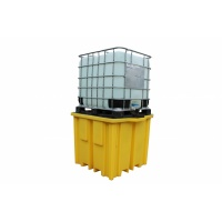 Four way forklift entry IBC sump pallet