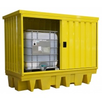 2 x IBC Spill Bund Pallet with External Steel Cabinet with sliding doors