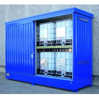 Galvanized Container Sump Cabinet for 8 IBC with Sliding Door