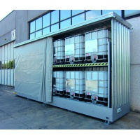 Galvanized Container Cabinet for 12 IBC- PVC Curtain