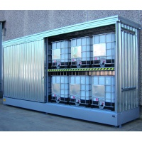 Galvanized Container Cabinet for 12 IBCs and Sliding Doors