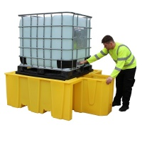 IBC Spill Pallet with Integral Dispenser and Removable Grid