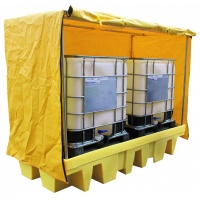 Twin IBC sump Pallet with External Fabric Cover
