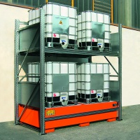 Steel Racking with Spill Containment Sump for 4 IBCs