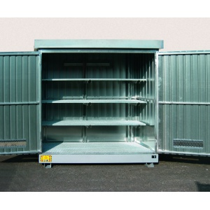 Multipurpose outdoor storage Container 2m² with Containment Sump with grid shelves