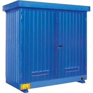 Multipurpose outdoor storage Container 2m² with Containment Sump overpainted galvanized