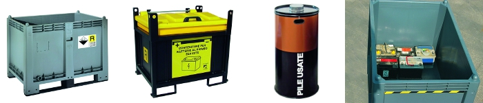 picture of used battery containers