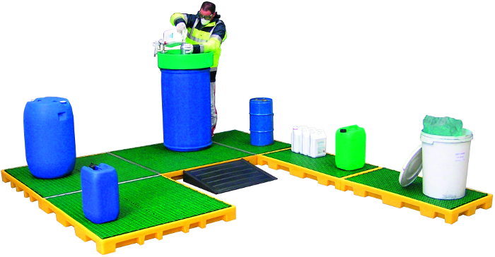 picture of modular polyethylene bunded sump flooring